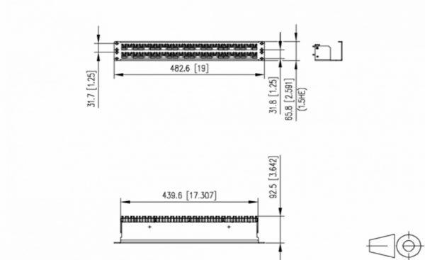 پچ پنل شبکه 19 اینچ 48 پورت یک و نیم یونیت